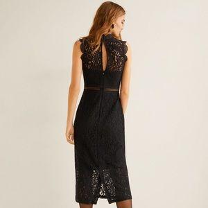 NWT Mango Guipure Dress in Black